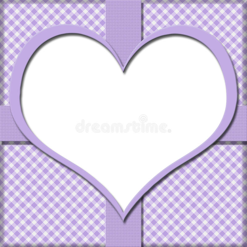 Purple Gingham with Heart Center and Ribbon Background for your royalty free illustration