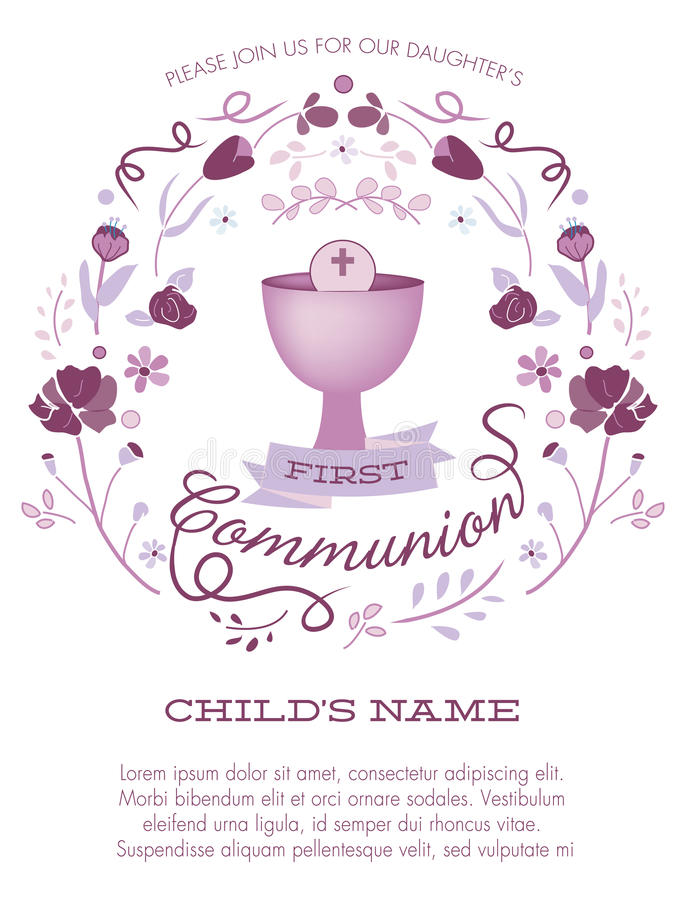 Purple Girl's First Holy Communion Invitation with Chalice and Flowers stock illustration