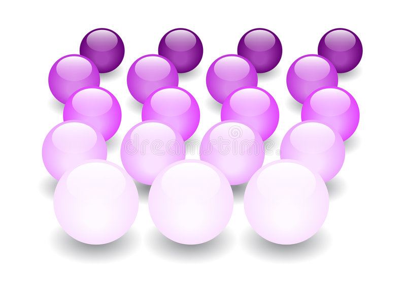 Purple Glass marbles perspective vector illustration