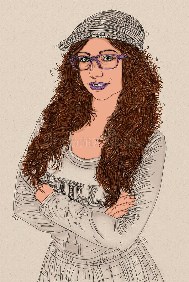 Purple glasses. Women wearing purple glasses and lipstick royalty free illustration