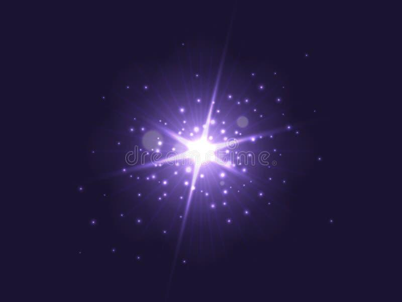 Purple glowing light burst explosion on dark background. Bright star with backlit dust particles. Vector illustration vector illustration