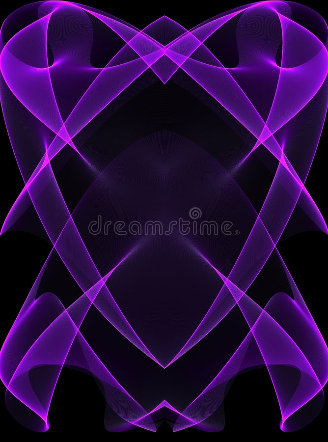 Purple Glowing Lines On Black Stock Image