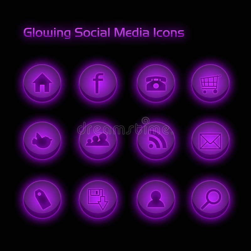 Download Purple Glowing Social Media Icons Stock Illustration - Image: 17911476