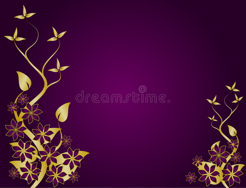 Purple And Gold Abstract Floral Background Vector Stock