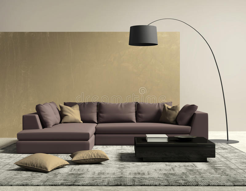 Purple and gold contemporary modern living room vector illustration