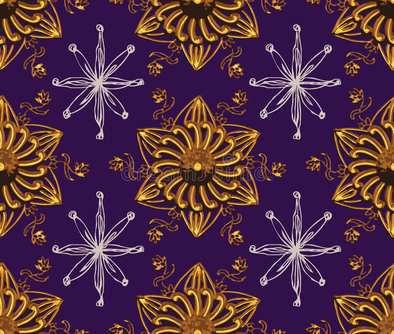 Purple Gold Star Night Pattern stock images