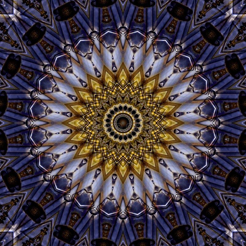 Purple and  golden art nouveau pattern  seen through kaleidoscope. Digital art design, details of a art nouveau pattern  seen through a kaleidoscope royalty free illustration