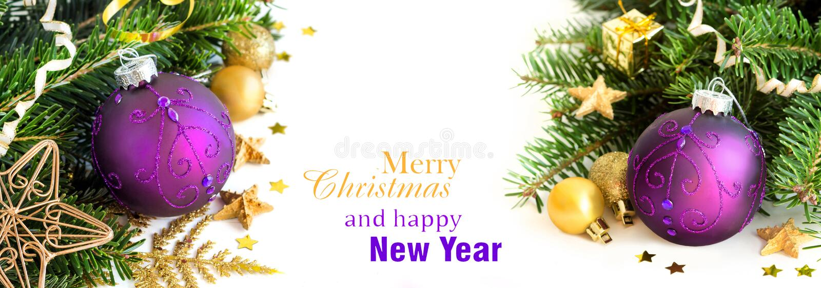 Purple and golden Christmas ornaments border. On white background royalty free stock photo