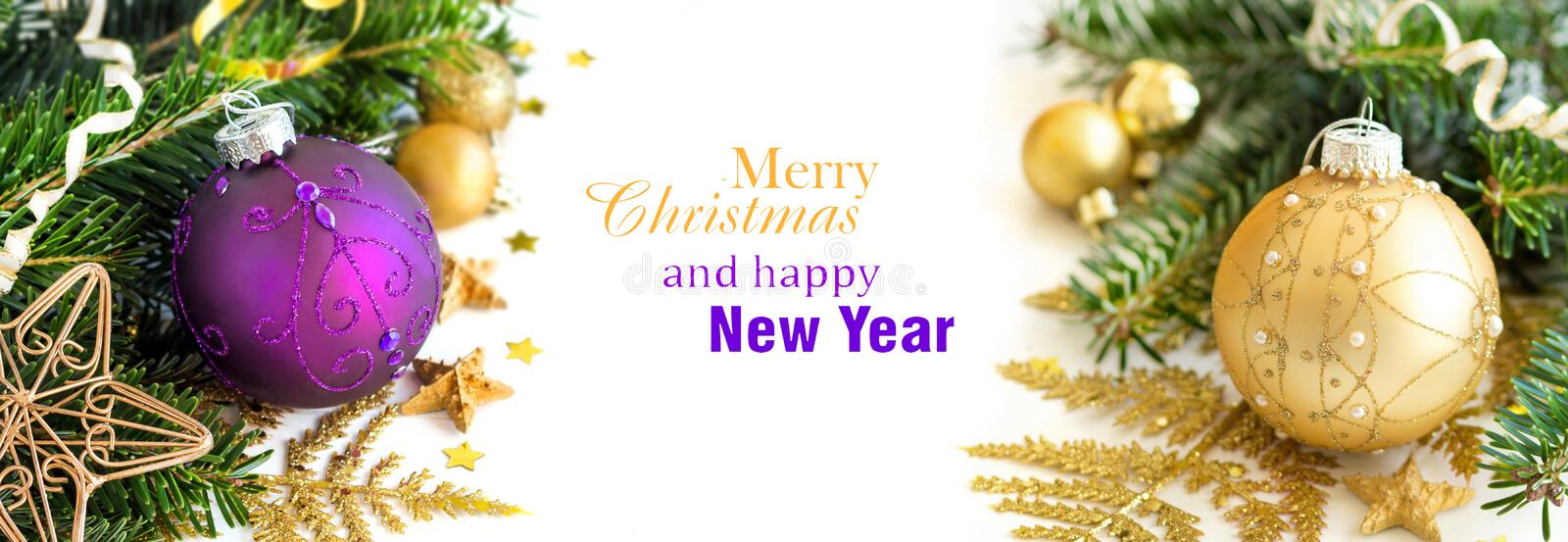 Purple and golden Christmas ornaments border. On white background royalty free stock photos