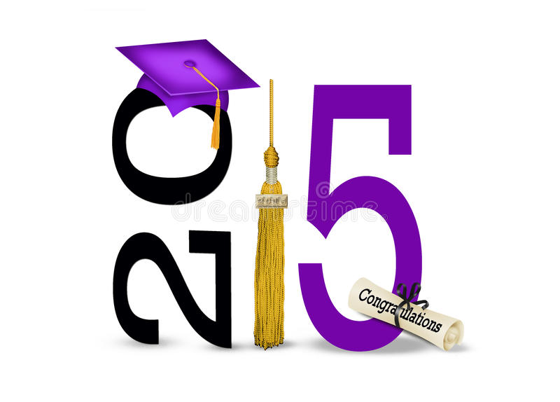 Purple graduation cap for 2015. Purple graduation cap and gold tassel for class of 2015 on white vector illustration