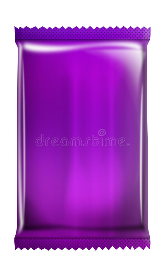 Purple - grape - Aluminum - Metallic bag package isolated on white background