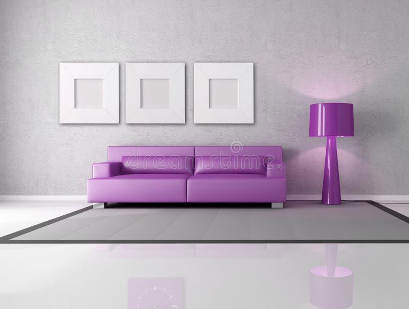 Purple And Gray Living Room Stock Image