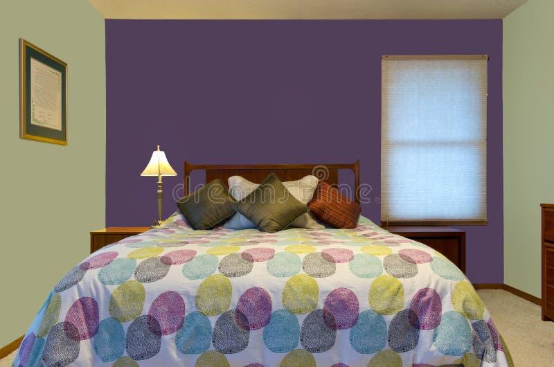 purple and green bedroom interior stock photo image