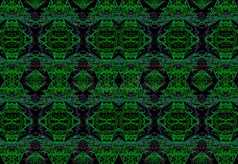 PURPLE AND GREEN NEON PATTERN ON BLACK BACKGROUND vector illustration