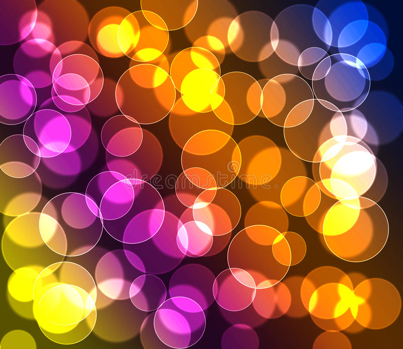Purple green red blue yellow colored bokeh background stock image