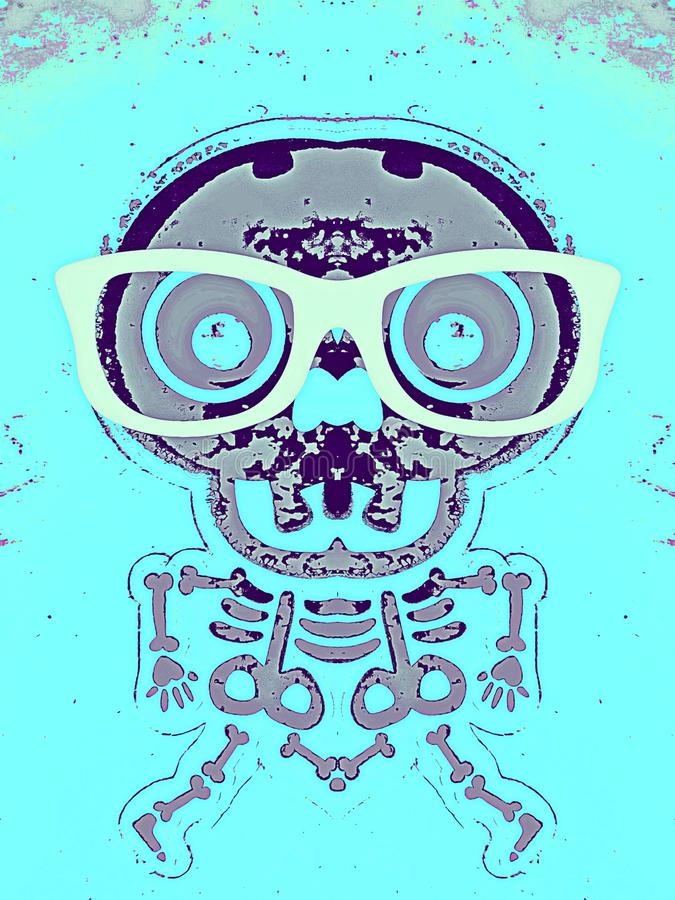 Purple and grey skull and bone with glasses. And blue background stock illustration