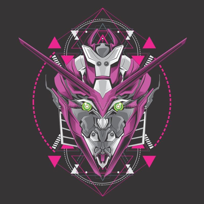 Purple gundam head royalty free illustration