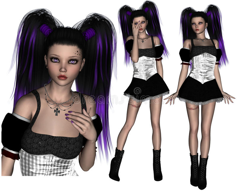 Purple Hair Goth Teenager Poser Royalty Free Stock Photography