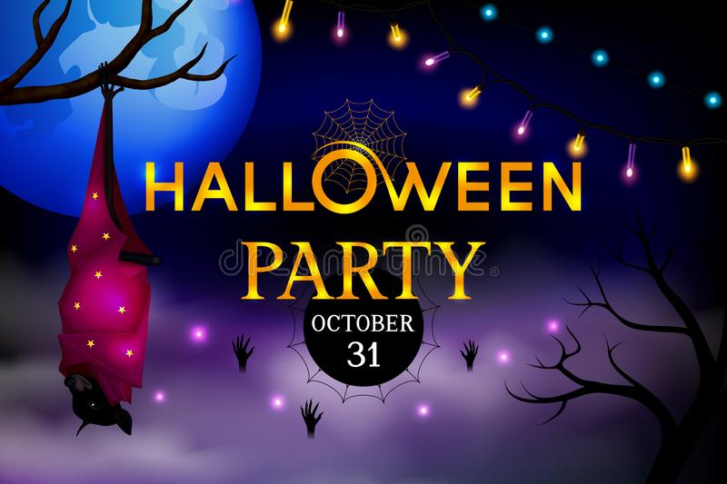 Purple Halloween party background with moon, bat and garland of glowing lights. Background with inscription Halloween party October 31, blue moon, garland of royalty free illustration