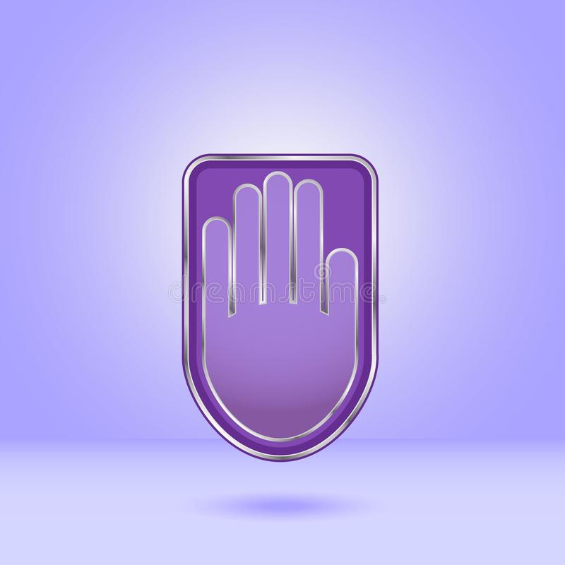 Purple hand icon with metal edging royalty free illustration