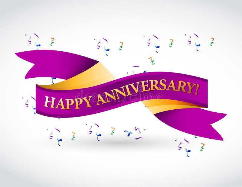 Purple happy anniversary ribbon stock illustration illustration