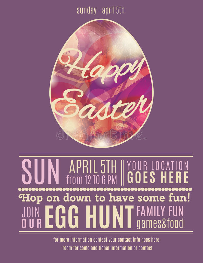Free Purple Happy Easter Egg Hung Poster Template Royalty Free Stock Photography - 50486227