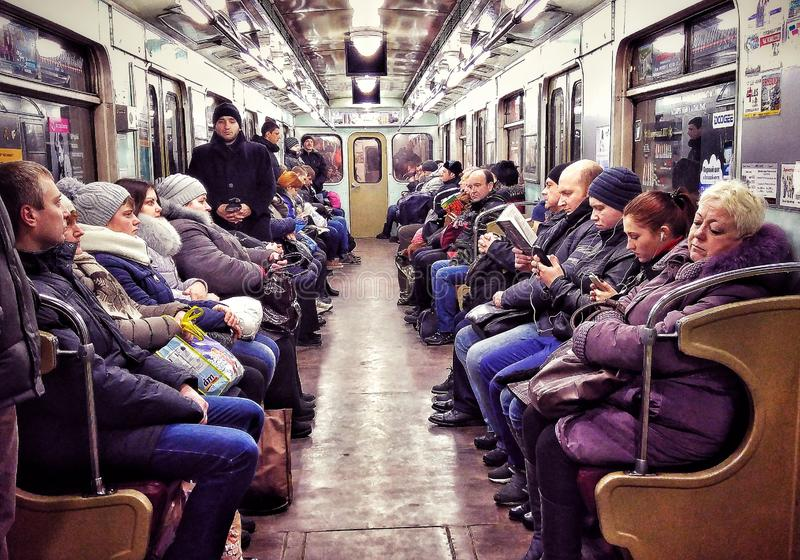 PURPLE HAZE - A dour look on the Kyiv Metro - UKRAINE. The Kiev Metro, or Kyiv Metro is a metro system that is the mainstay of Kiev`s public transport. It was stock photos