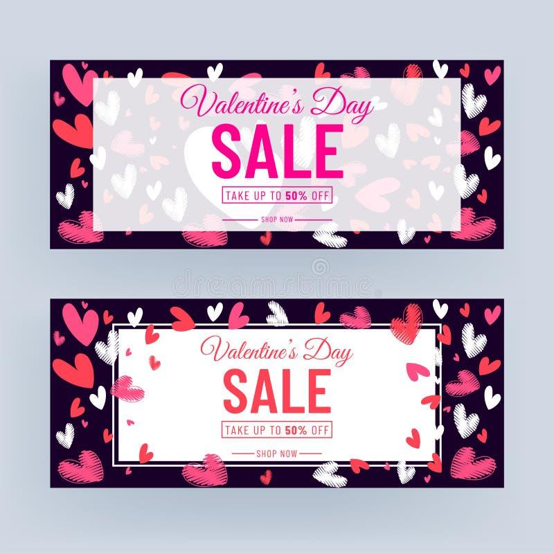 Purple Header of Banner Design Gedecorreerd met kribble Hearts en 50% Korting Aanbieding voor Valentijnsdag Verkoop stock illustratie