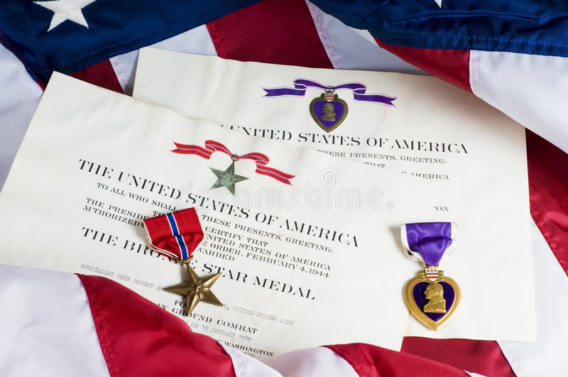 Purple Heart and Bronze Star royalty free stock images