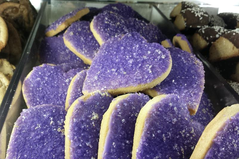 Purple Heart ciastka zdjęcie stock