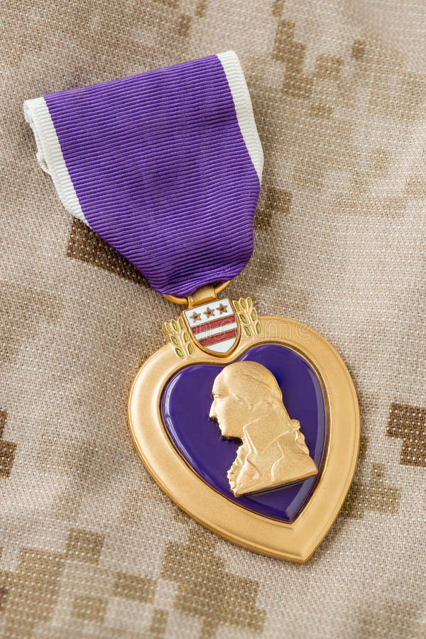 Purple Heart Medal Laying on Military Fatigues. A Military Purple Heart Medal Laying on Military Fatigues royalty free stock image