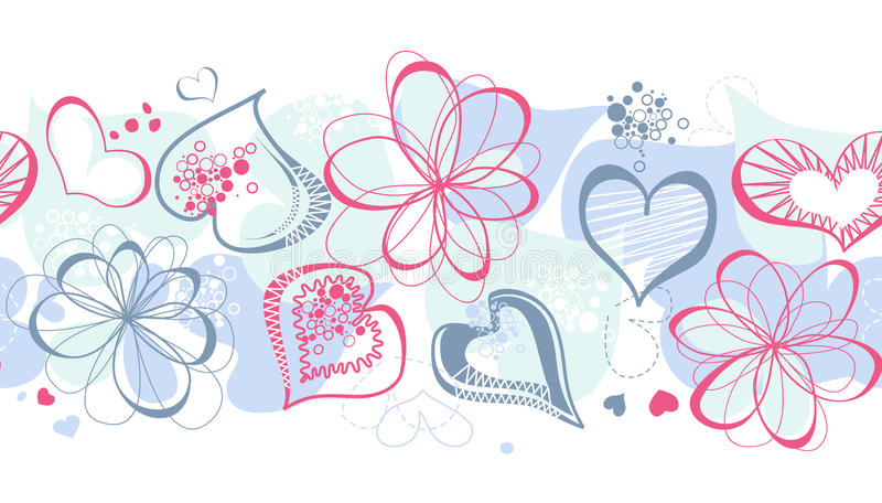 Purple hearts. Seamless pattern, decorative border stock illustration