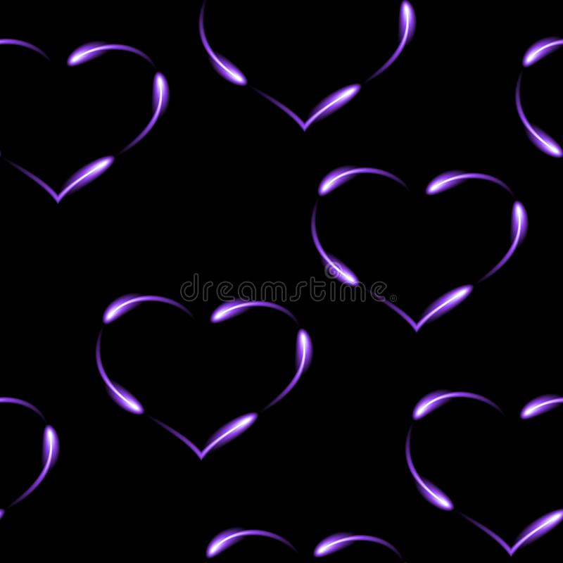 Purple hearts made by fen fires, seamless pattern, vector background. Purple neon hearts made by fen fires, seamless pattern, vector background vector illustration