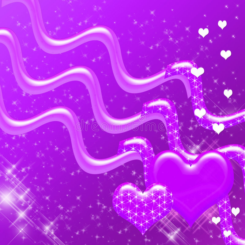 Purple Hearts and Sparkles Backdrop stock photo