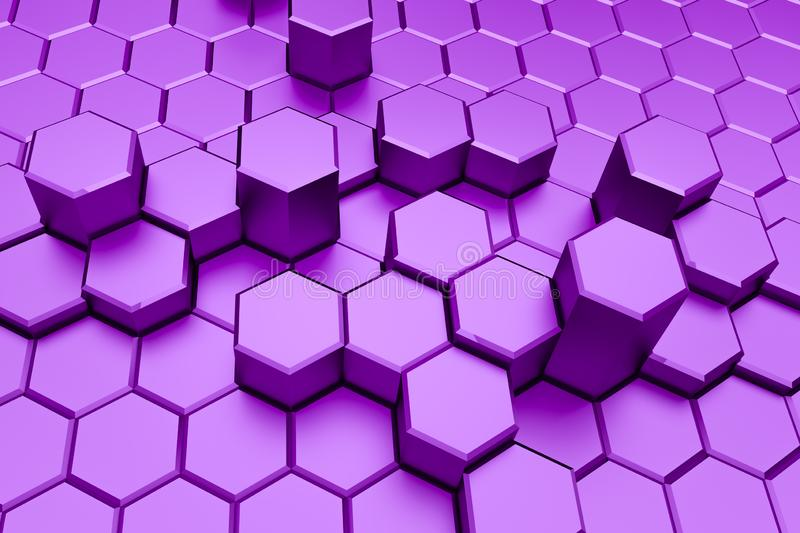 Purple hexagon pattern - honeycomb concept royalty free illustration