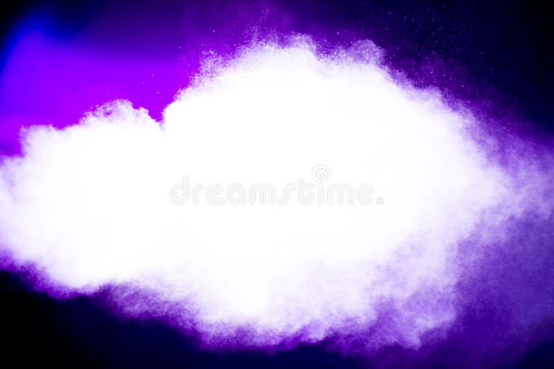 Purple highlighted vapor particles royalty free stock photo