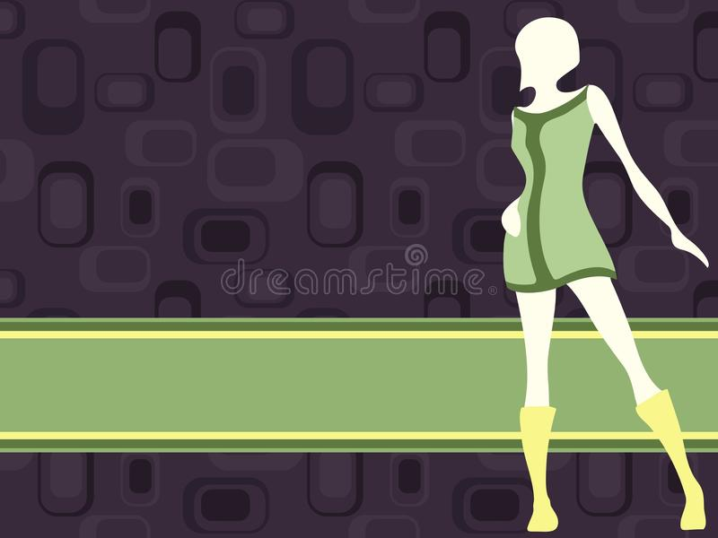 Download Purple Horizontal Retro Banner With Mod Girl Stock Vector - Illustration of boot, label: 17735868