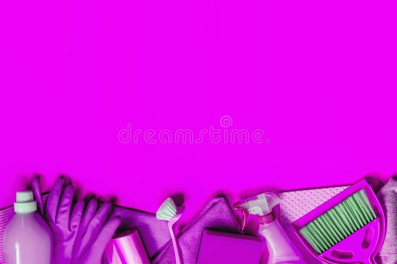 Purple household kit for spring cleaning stock photography