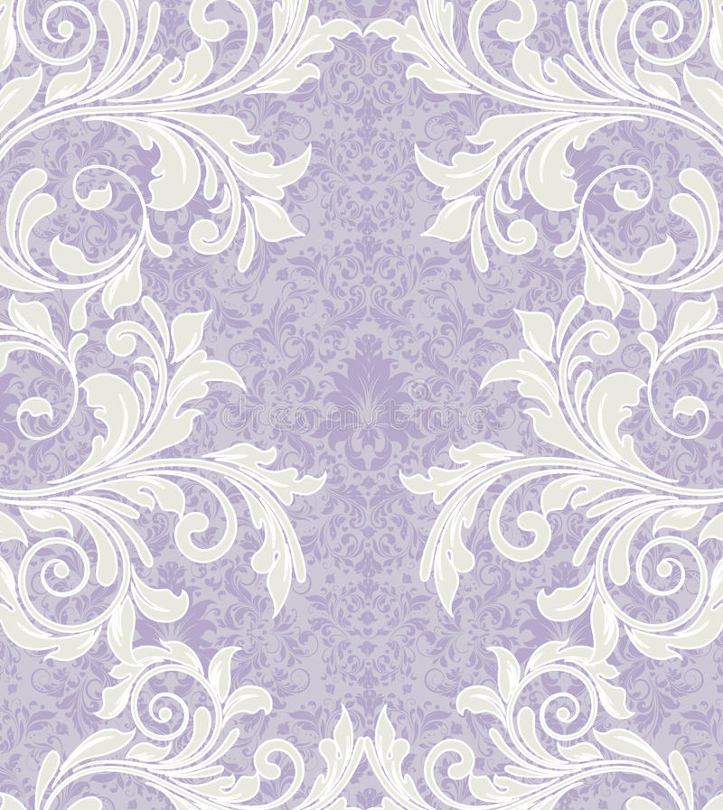 Purple Damask Wedding Invitation Card Stock Vector