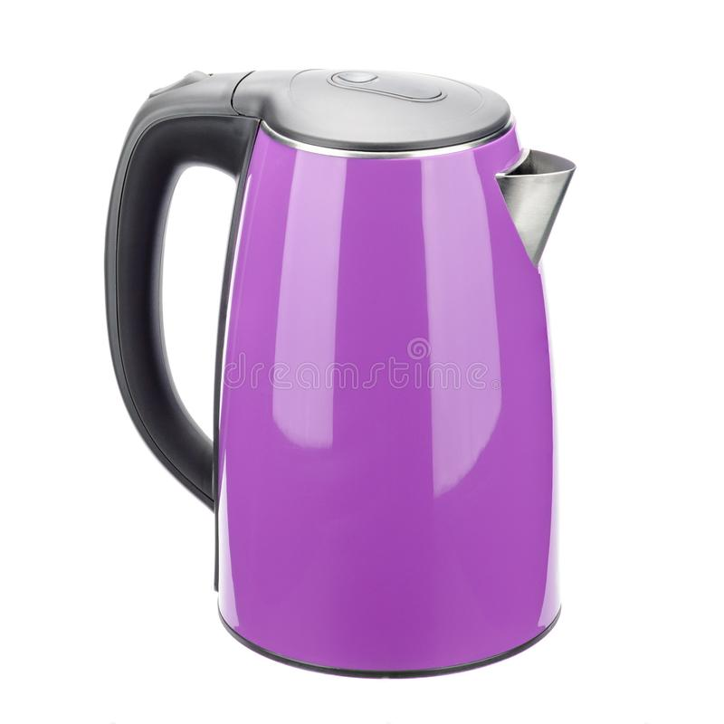 Purple isolated stainless steel kettle on the white background stock photography