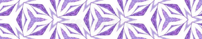 Purple kaleidoscope Seamless Border Scroll. Geomet. Ric Watercolor Frame. Brilliant Seamless Pattern. Medallion Repeated Tile. Appealing Chevron Ribbon Ornament royalty free illustration