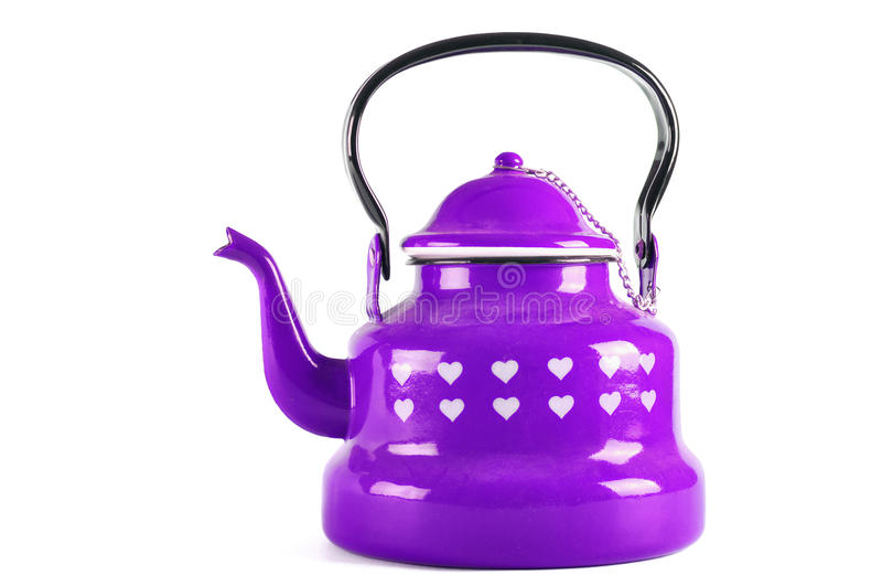 Purple kettle isolated on white with clipping. Purple kettle isolated on white background with clipping stock photos