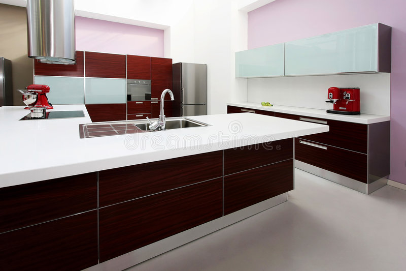 Download Purple kitchen counter stock photo. Image of sink, contemporary - 9277272