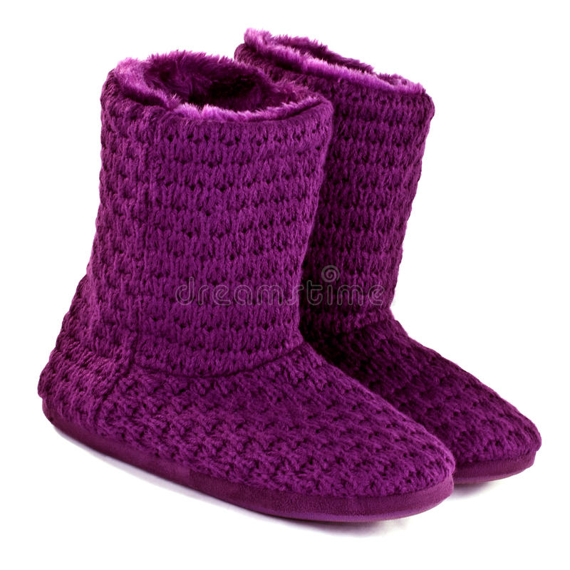 Purple knitted slipper boots