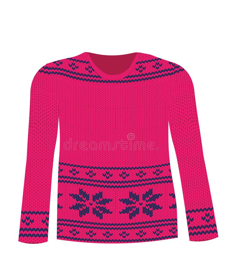 Purple knitted sweater with Nordic pattern. Vector vector illustration