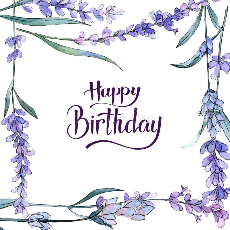 Purple lavender. Floral botanical flower. Happy Birthday handwriting monogram calligraphy. Frame border ornament square. royalty free illustration