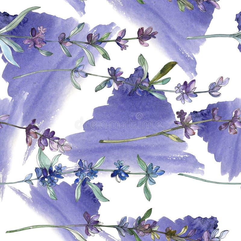 Purple lavender floral botanical flower. Watercolor background illustration set. Seamless background pattern. vector illustration