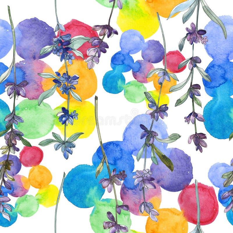 Purple lavender floral botanical flower. Watercolor background illustration set. Seamless background pattern. royalty free stock photos