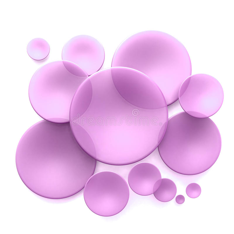 Purple lenses. Abstract background with pink transparent disks royalty free illustration