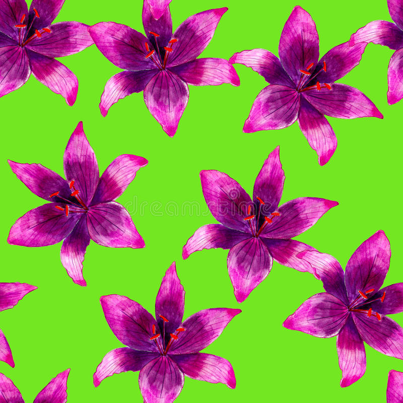 Free Purple Lily Flower Watercolor Seamless Pattern. Bright Tropical Flowers Isolated On Green Background. Royalty Free Stock Photography - 96086187